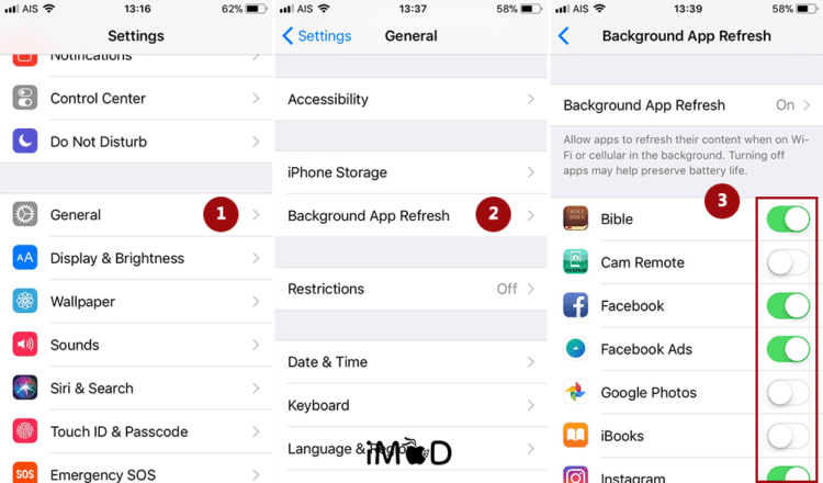 2.close Background App Refresh 1 Save Battery Ios 11