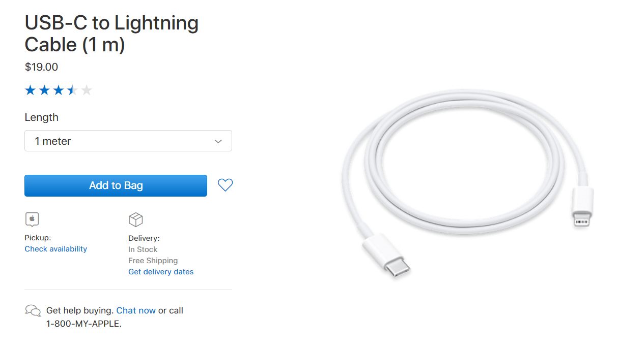 Apple Drop Usbc To Lightning Cable Price 1