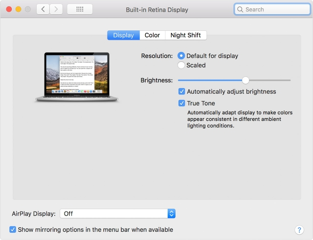 Macbook Pro 2018 Support True Tone Technology External Displays 1